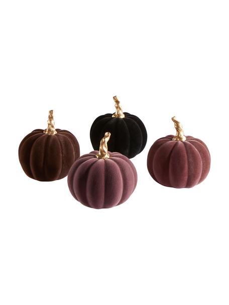 Set de calabazas decorativas Mercy, 4pzas., Poliresina con tacto de terciopelo, Lila, negro, Ø 9 x Al 9 cm