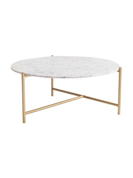 Mesa de centro de mármol Morgans, Espejo: cristal, Blanco, latón, An 80 x Al 35 cm
