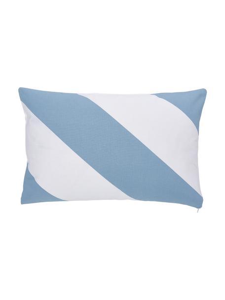 Gestreifte Kissenhülle Ren in Hellblau/White, 100% Baumwolle, Weiß, Hellblau, 30 x 50 cm