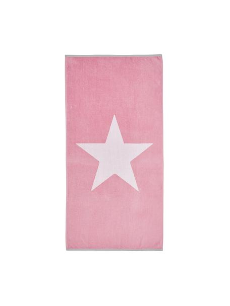 Strandlaken Spork, Katoen Lichte kwaliteit 380 g/m², Roze, wit, 80 x 160 cm