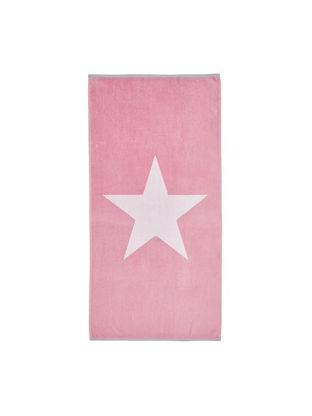 Strandtuch Spork mit Sternen-Motiv, 100% Baumwolle leichte Qualität 380 g/m², Pink, Weiß, 80 x 160 cm