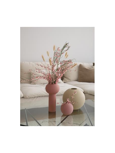 Jarrón artesanal Ball, Cerámica, Rosa palo, Ø 10 x Al 10 cm