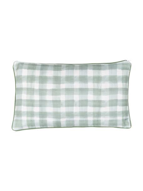 Funda de cojín doble cara Check, diseño Candice Grey, 100%algodón, certificado GOTS, Verde, An 30 x L 50 cm