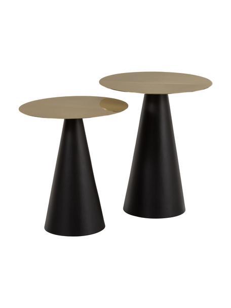 Set de mesas auxiliares de metal Zelda, 2uds., Tablero: metal recubierto, Estructura: metal, pintura en polvo, Dorado, negro, Set de diferentes tamaños