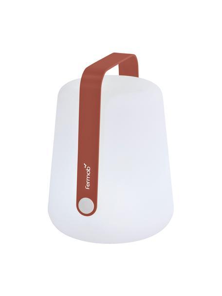 Lámpara de mesa regulable para exterior Balad, portátil, Pantalla: polietileno, Asa: aluminio, pintado, Blanco, rojo ocre, Ø 19 x Al 25 cm