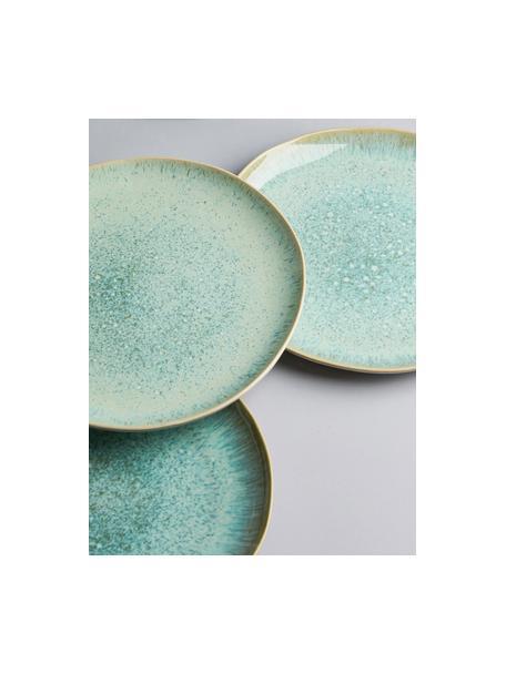 Handbemalter dinerbord Areia met reactief glazuur, Keramiek, Mintgroen, gebroken wit, beige, Ø 28 cm