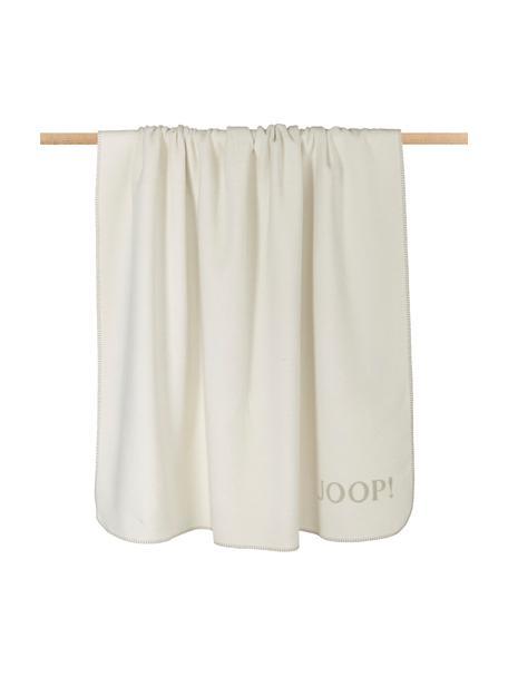 Dubbelzijdige fleece plaid Uni Doubleface in crèmekleur en beige, 58% katoen, 35% polyacryl, 7% polyester, Beige, crèmekleurig, 150 x 200 cm