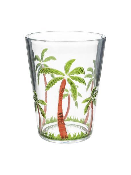 Bicchiere acqua in acrilico con motivo palme Gabrielle, Acrilico, Trasparente, verde, marrone, Ø 9 x Alt. 12 cm
