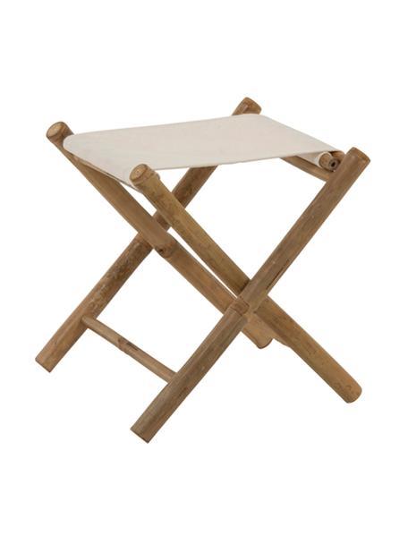 Taburete plegable de bambú para jardín Bindi, Patas: bambú, natural, Asiento: algodón, Bambú, crema, An 40 x F 40 cm