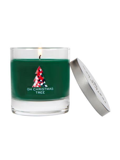 Candela natalizia Oh Christmas Tree (pino, ambra & legno di sandalo), Contenitore: vetro, Coperchio: metallo rivestito, Pino, ambra e legno di sandalo, Ø 8 x Alt. 12 cm