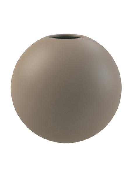 Jarrón artesanal Ball, Cerámica, Gris pardo, Ø 20 x Al 20 cm