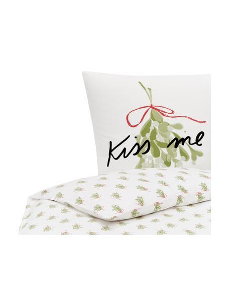 Pościel z flaneli Kiss Me od Kery Till, Biały, zielony, czarny, czerwony, 135 x 200 cm + 1 poduszka 80 x 80 cm