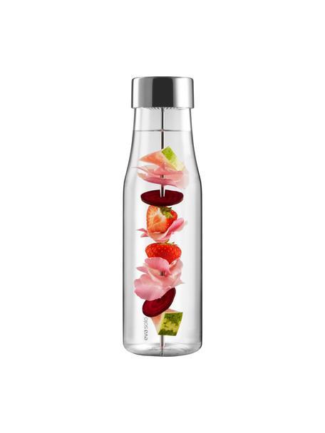 Bottiglia in vetro My Flavour, 1 L, Coperchio: acciaio inossidabile, sil, Caraffa: trasparente Coperchio e spiedino: acciaio inossidabile, Alt. 28