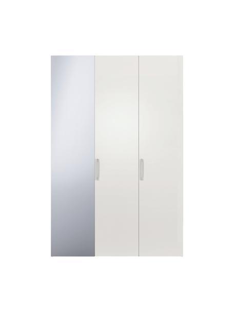 Kledingkast Madison met spiegeldeur in wit, Frame: panelen op houtbasis, gel, Wit, 152 x 230 cm