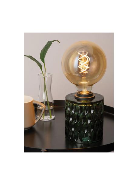 Kleine tafellamp Crystal Magic van groen glas, Lampvoet: glas, Groen, Ø 11 x H 13 cm