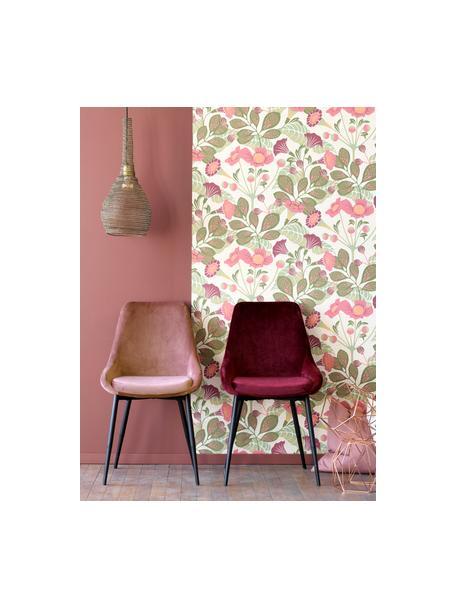 Fluwelen stoelen Sierra, 2 stuks, Bekleding: polyester fluweel, Poten: gelakt metaal, Fluweel roze, poten zwart, B 49 x D 55 cm