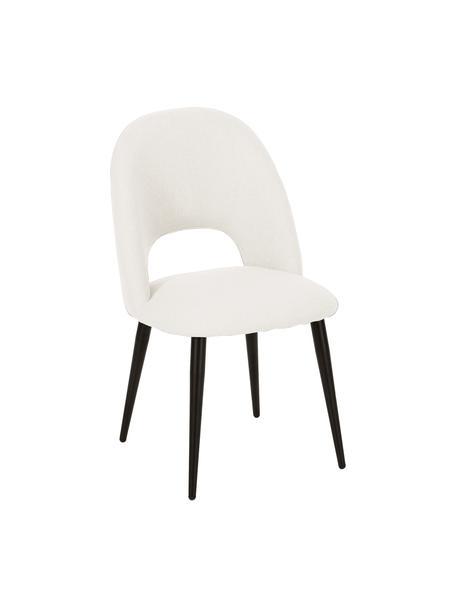 Gestoffeerde stoel Rachel in beige, Bekleding: 100% polyester, Poten: gepoedercoat metaal, Geweven stof beige, B 53  x D 57 cm