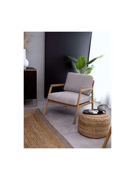 Fauteuil Becky van eikenhout, Bekleding: polyester, Frame: massief eikenhout, Geweven stof grijs, eikenhout, B 73 x D 90 cm