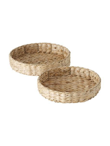 Set 2 vassoi decorativi in fibra naturale Paola, Paglia, metallo, Beige, Set in varie misure