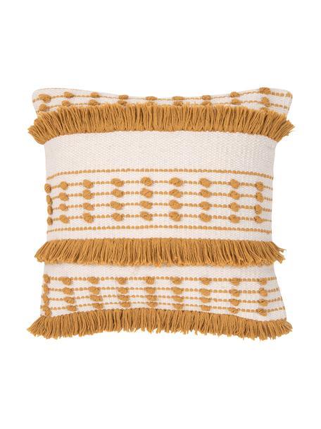 Federa arredo boho in cotone Tulika, 100% cotone, Giallo, ecru, Larg. 45 x Lung. 45 cm