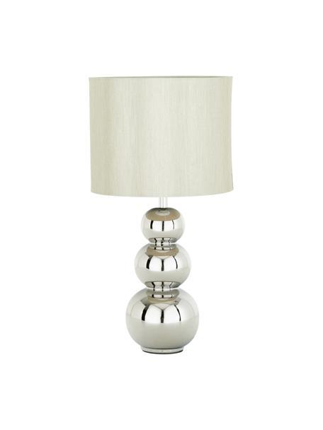 Keramik-Tischlampe Regina, Lampenschirm: Textil, Taupe, Chrom, Ø 25 x H 49 cm