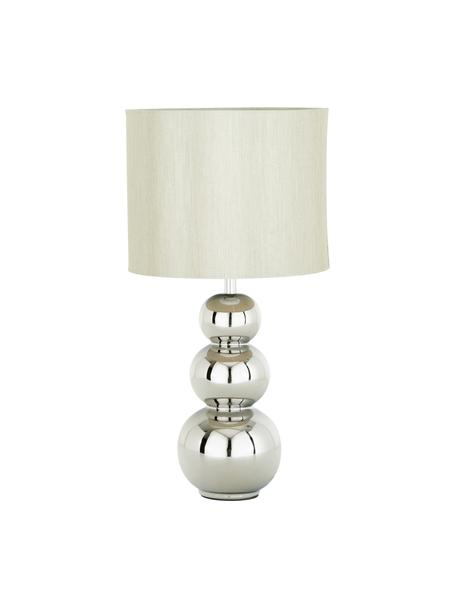 Keramische tafellamp Regina, Lampenkap: textiel, Lampvoet: keramiek, Taupe, chroomkleurig, Ø 25 x H 49 cm