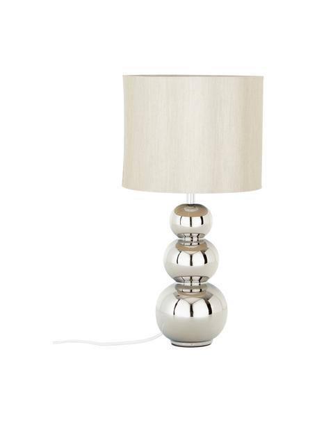 Keramische tafellamp Regina in zilverkleur, Lampenkap: textiel, Lampvoet: keramiek, Taupe, chroomkleurig, Ø 25 x H 49 cm
