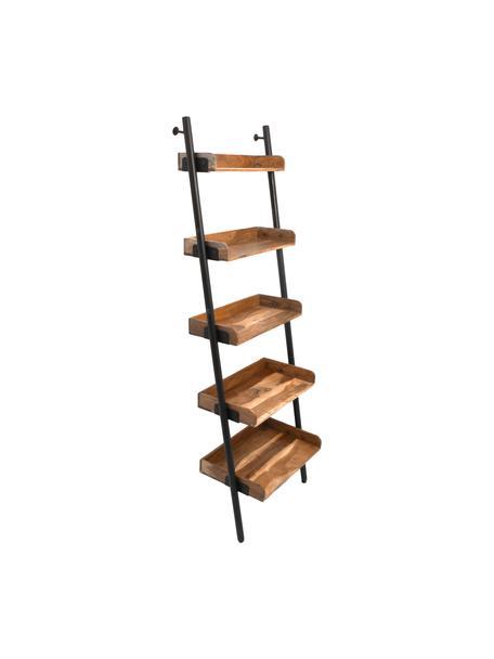 Scaffale a scala Akasia, Ripiani: legno di acacia, Struttura: metallo verniciato a polv, Marrone, nero, Larg. 60 x Alt. 180 cm