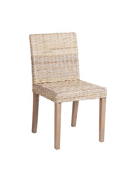 Krzesło z rattanu Maria, Nogi: drewno naturalne, Beżowy, jasny brązowy, S 54 x W 88 cm