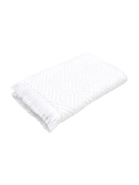 Ręcznik z wypukłą strukturą Jacqui, Biały, Ręcznik dla gości