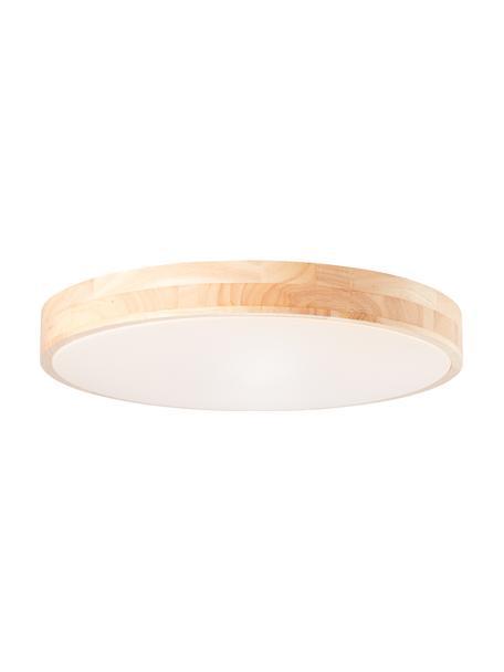 Plafoniera a LED in legno dimmerabile con telecomando Slimline, Paralume: legno, Struttura: metallo rivestito, Marrone, bianco, Ø 49 x Alt. 9 cm
