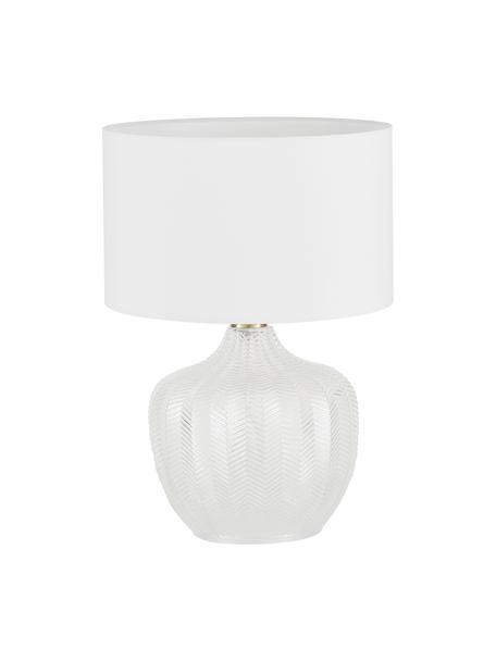 Lámpara de mesa de vidrio Sue, Pantalla: tela, Cable: plástico, Blanco, latón, Ø 33 x Al 47 cm