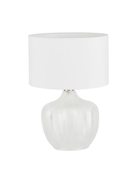 Tafellamp Sue met glazen onderstel, Lampenkap: textiel, Lampvoet: glas, Frame: vermessingd metaal, Lampenkap: wit lampvoet: transparant, geborsteld messing, Ø 33 x H 47 cm