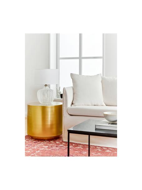 Tischlampe Sue mit Glasfuss, Lampenschirm: Textil, Lampenschirm: WeissLampenfuss: Transparent, Messing, gebürstet, Ø 33 x H 47 cm