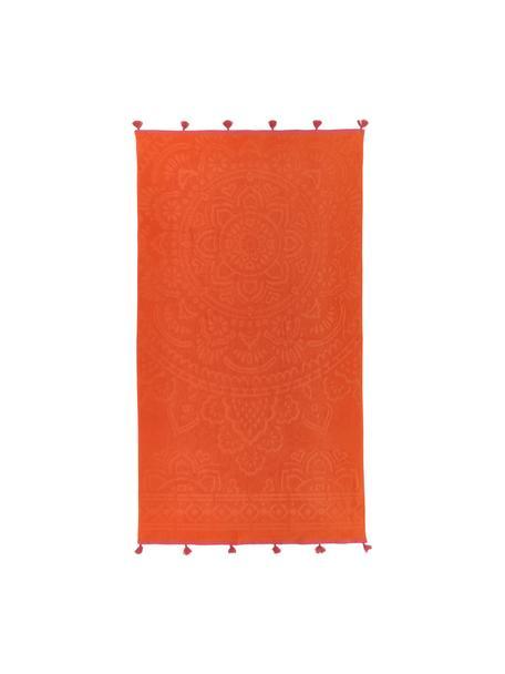 Strandlaken Mandala, 100% katoen, Oranje, roze, 90 x 160 cm