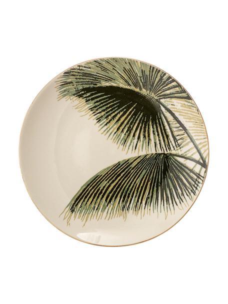 Frühstücksteller Aruba mit tropischem Motiv und Goldrand, 4 Stück, Steingut, Cremeweiss, Grün, Ø 20 cm