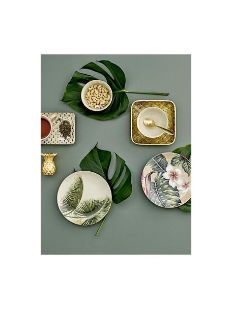 Frühstücksteller Aruba mit tropischem Motiv und Goldrand, 4 Stück, Steingut, Cremeweiß, Grün, Ø 20 cm