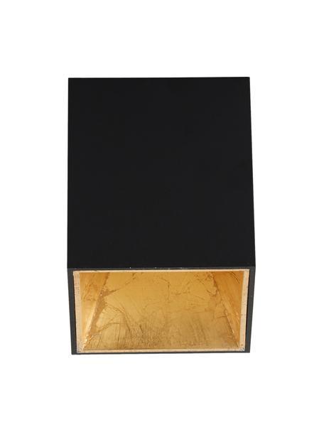 LED plafondspot Marty in zwart-goudkleur met antieke afwerking, Zwart, goudkleurig, 10 x 12 cm