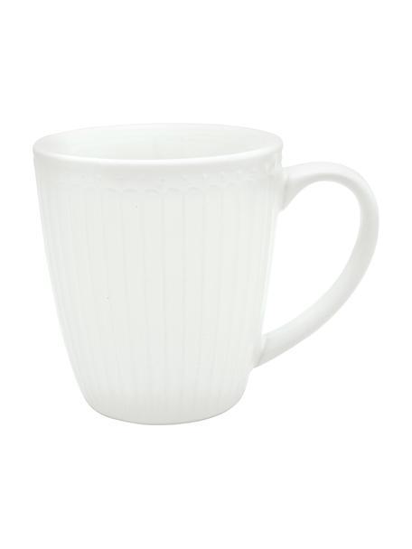 Tazas de café artesanales Alice, 2uds., Gres, Blanco, Ø 10 x Al 10 cm