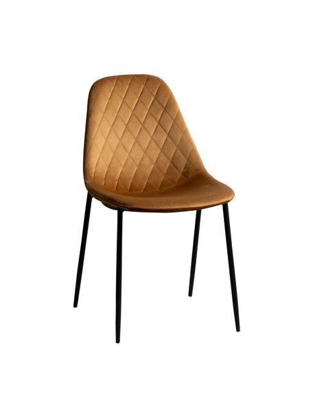 Krzesło tapicerowane Nadine, Tapicerka: 100% poliester, Nogi: metal powlekany, Jasny brązowy, czarny, S 51 x G 46 cm