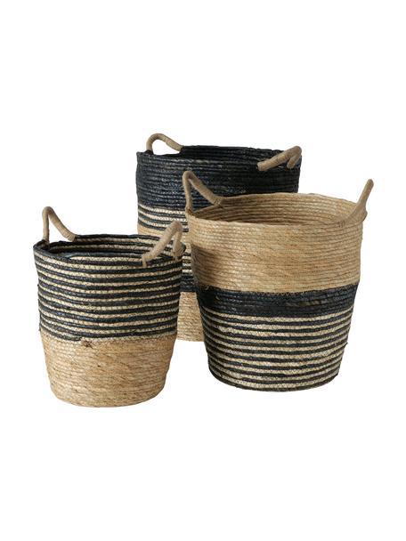 Handgemaakte opbergmandenset Ryka, 3-delig, Grasboomvezels, Zwart, beige, Set met verschillende formaten