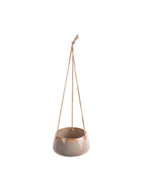 Wisząca osłonka na doniczkę  z ceramiki Unique, Ceramika, Szary, beżowy, Ø 16 x W 8 cm
