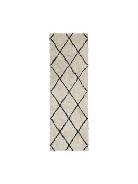 Puszysty ręcznie tuftowany chodnik Naima, Beżowy, czarny, S 80 x D 250 cm