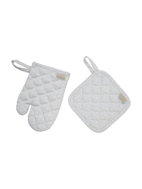 Set 2 guanti da forno in cotone organico Cook, Rivestimento: 100% cotone biologico, ce, Grigio, bianco, Larg. 16 x Lung. 16 cm