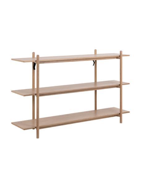Wandrek Asbaek van hout met 3 planken, MDF met eikenhoutfineer, Bruin, 150 x 90 cm