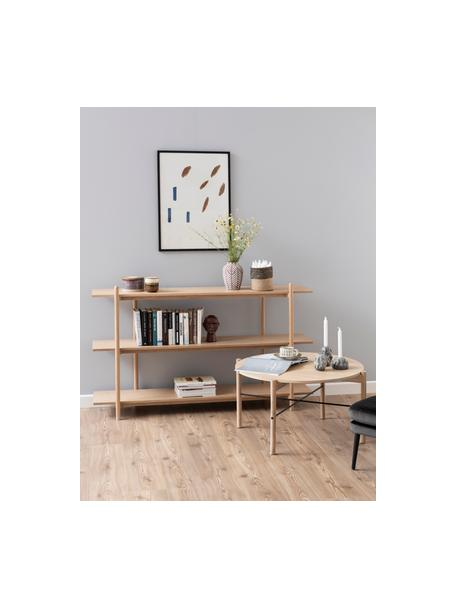 Libreria in legno con 3 ripiani Asbaek, Pannello di fibra a media densità (MDF) con impiallacciatura in rovere, Marrone, Larg. 150 x Alt. 90 cm