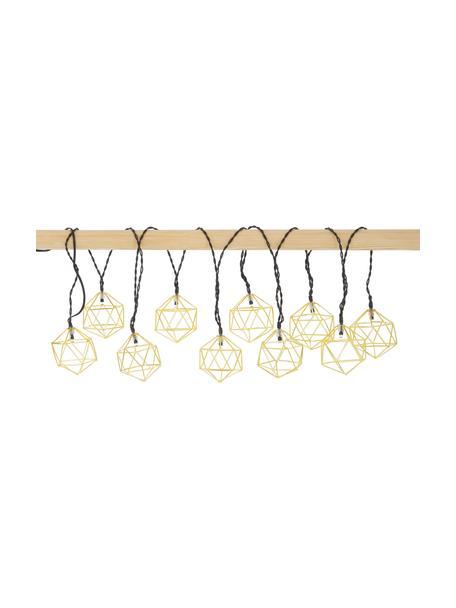 LED-Lichterkette Edge, 525 cm, 10 Lampions, Lampions: Metall, beschichtet, Messingfarben, L 525 cm