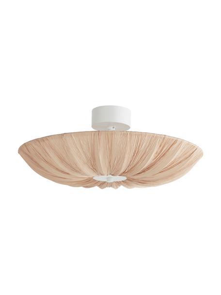 Grote Scandi plafondlamp Minnie in beige, Lampenkap: textiel, Baldakijn: gecoat metaal, Mat beige, wit, Ø 60 x H 25 cm