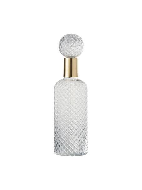 Decoratieve fles Smart, Glas, Transparant, goudkleurig, Ø 11 x H 37 cm