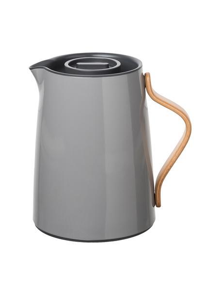 Teiera in grigio lucido Emma, 1 L, Teiera: acciaio, Rivestimento: smalto, Manico: legno di faggio, Grigio, 1 l